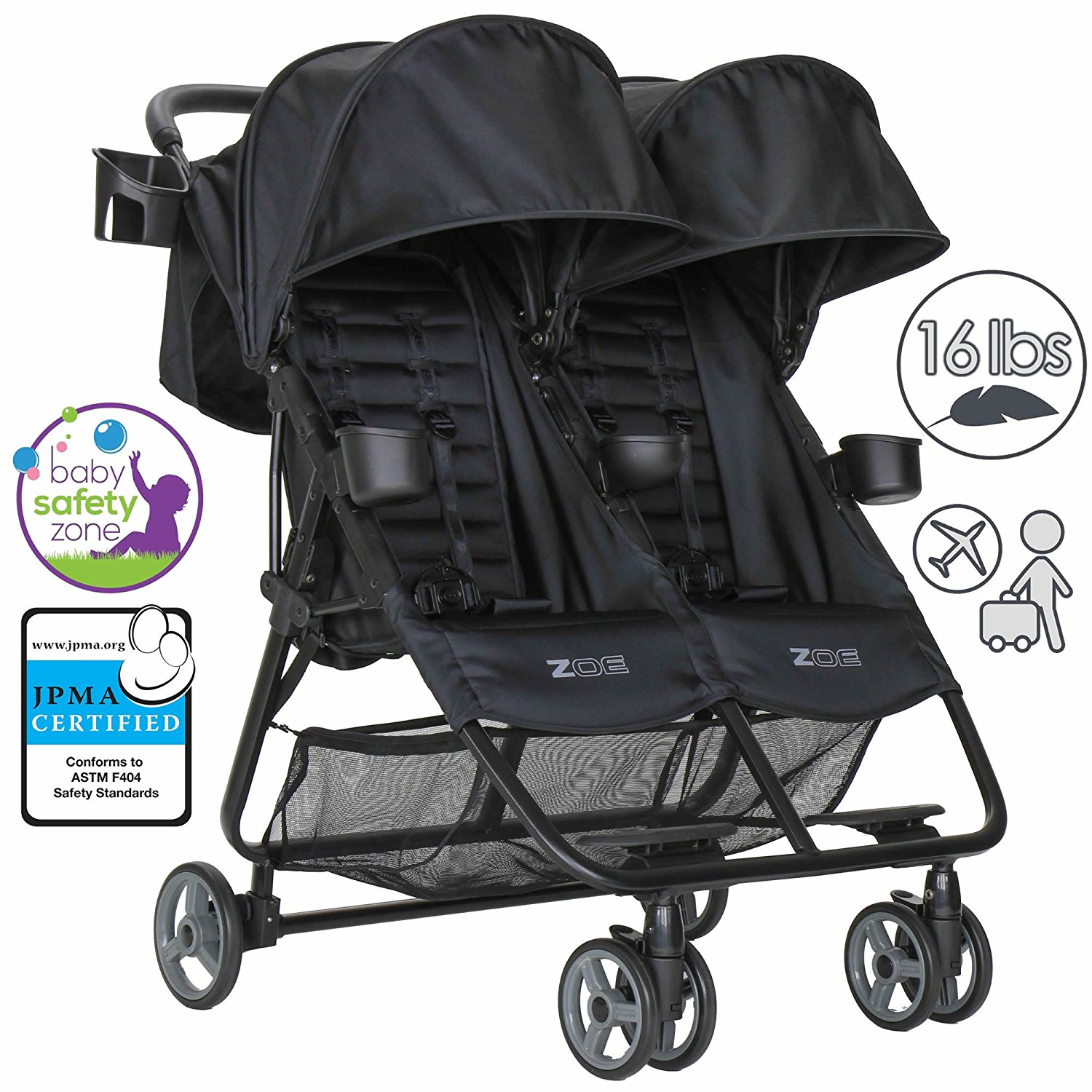 0 ZOE Umbrella XL2 Double Stroller